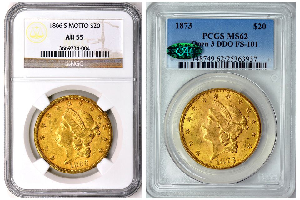 """Examples of """"slabbed"""" or encapsulated coins."""