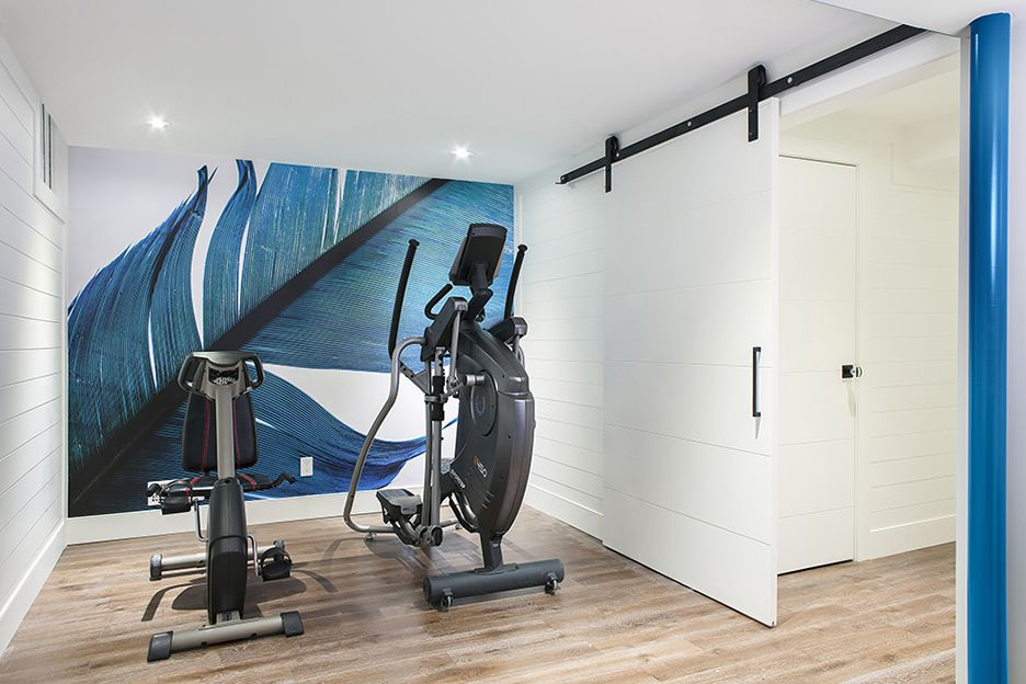 view 2 of blue home gym