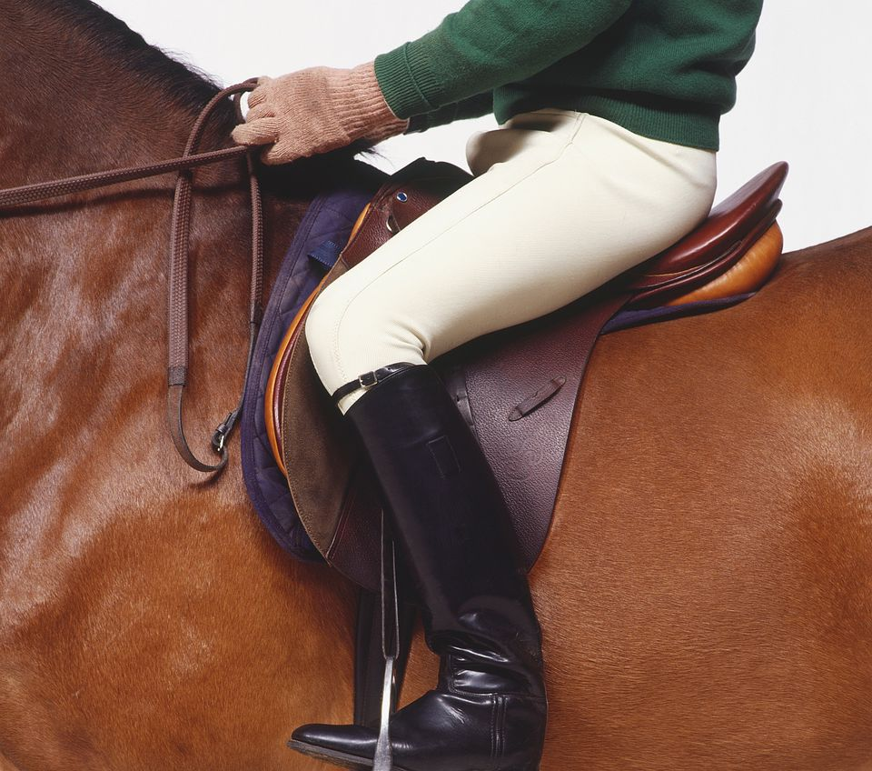 Person demonstrating proper seat and hand position on horse.