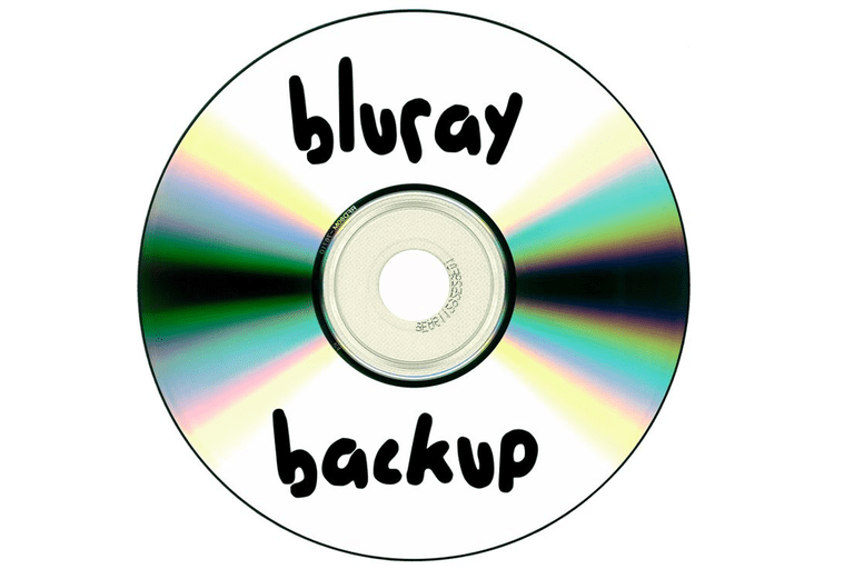 Image of a Blu-ray disc being used for backup