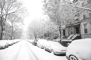 Brownstone Brooklyn snow covered streets