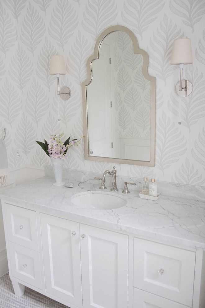 20 beautiful wallpapered bathrooms for Gray bathroom wallpaper