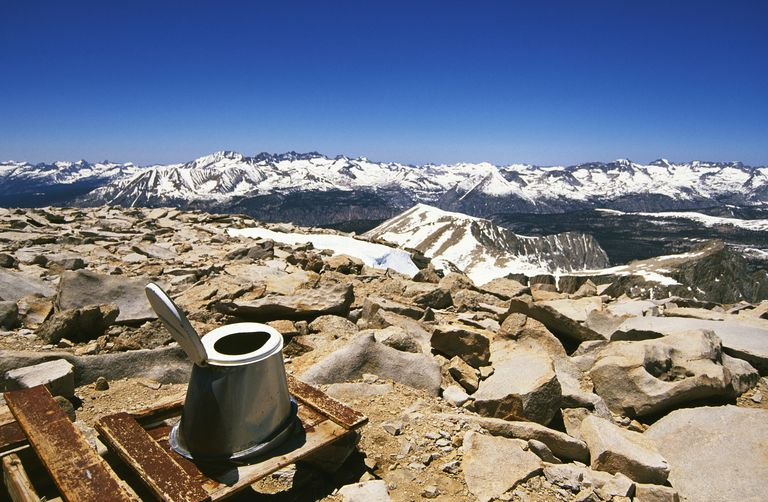 Toilet on the summit of Mount Whitney in California's Eastern Sierra