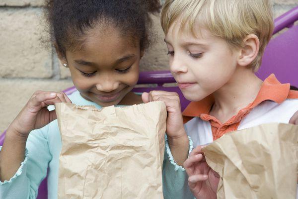 children looking in lunch bag