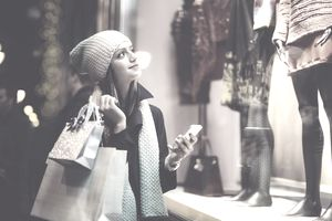 Winter shopping at night.