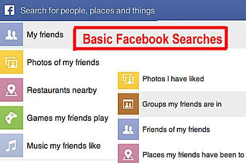 Facebook search categories