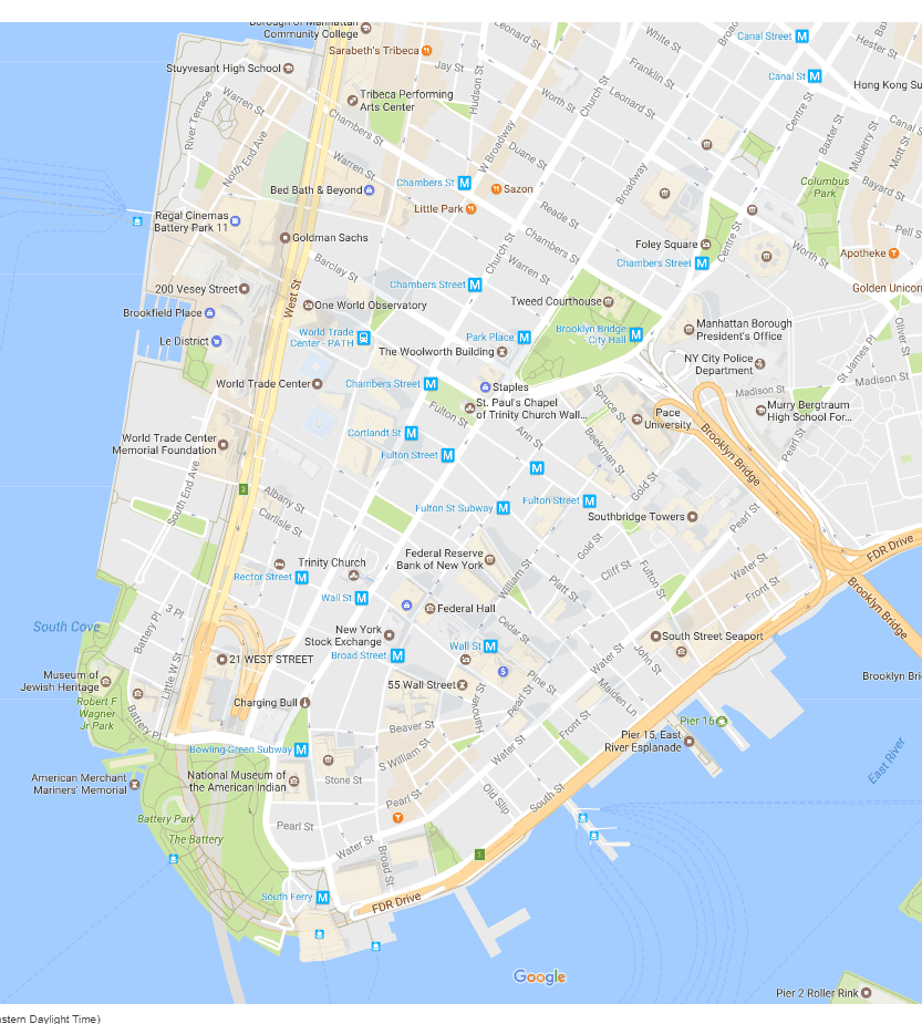Financial District Neighborhood New York City Map - New york city map with neighborhoods