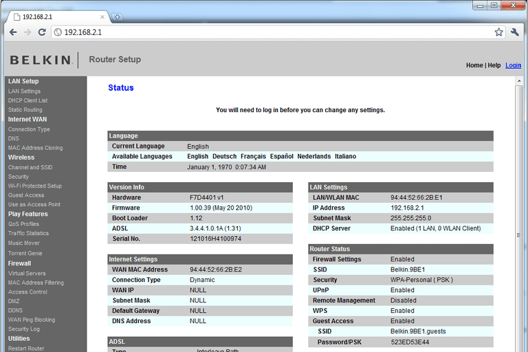 Screenshot of a Belkin router logged in with the 192.168.2.1 IP address