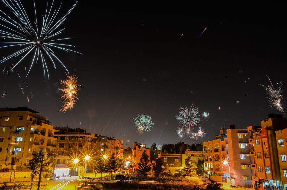 Diwali fireworks in India.
