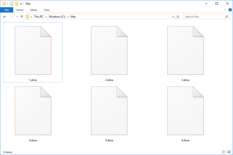 Screenshot of several DMA files in Windows 10