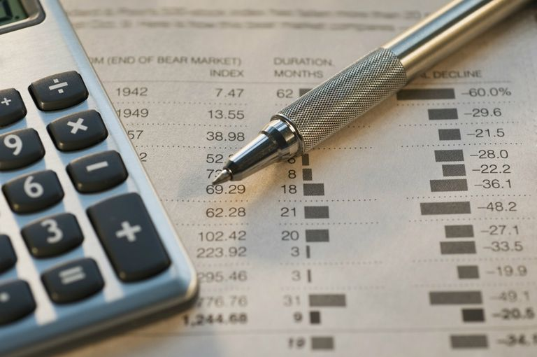 Pen, calculator and financial pages