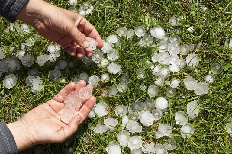 Golf ball-sized hailstones.