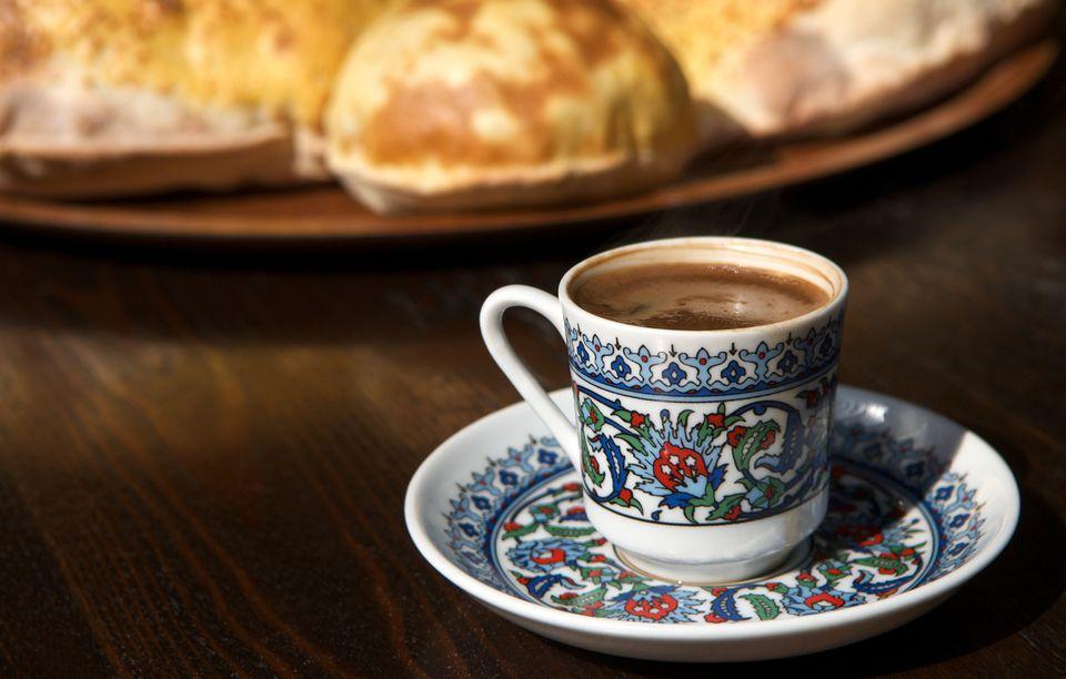 Turkish coffee and bread