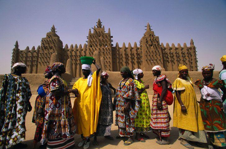 Mali Women Outside Grande Mosque, Djenne, Mali