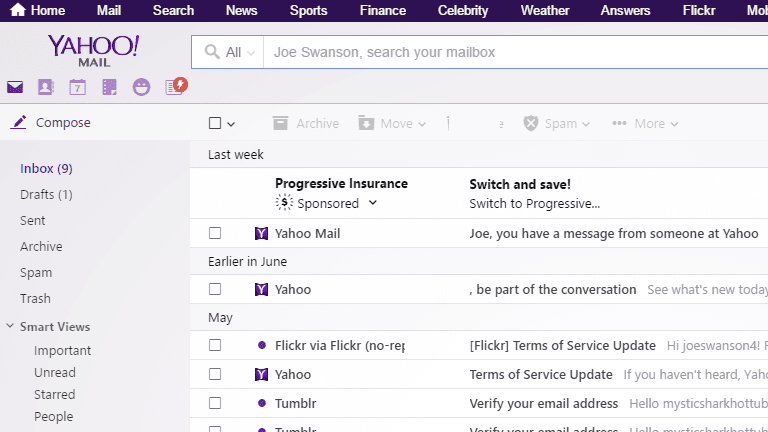 Screenshot of the Yahoo Mail email inbox