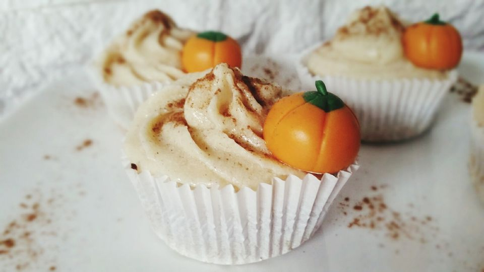 Close-Up Of Artificial Pumpkins On Cupcakes