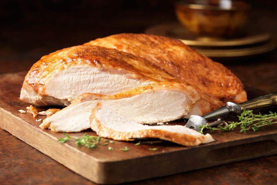 Roasted turkey breast on a cutting board