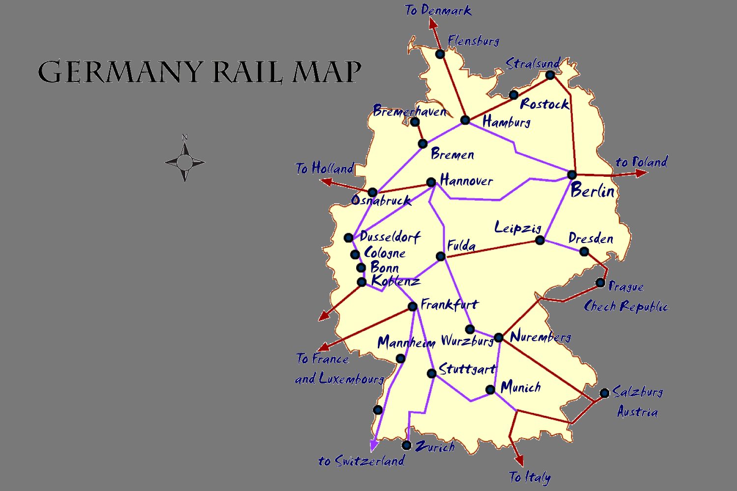 Germany Rail Map And Transportation Guide - Germany map salzburg