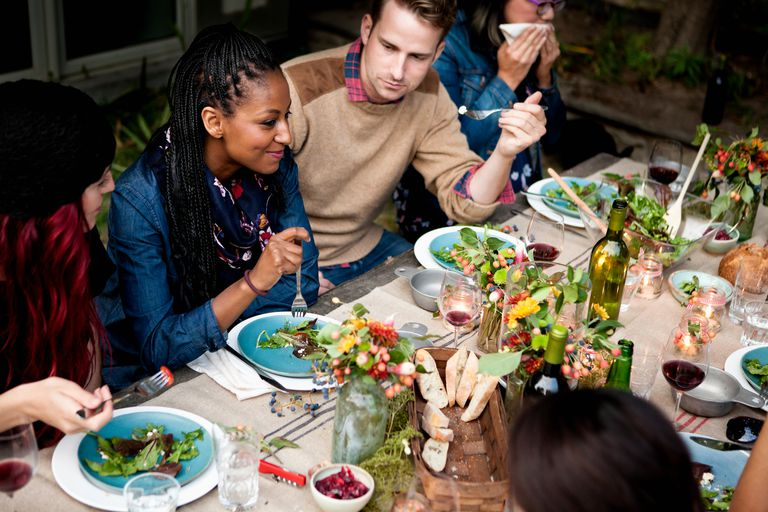 Group of friends eating outside