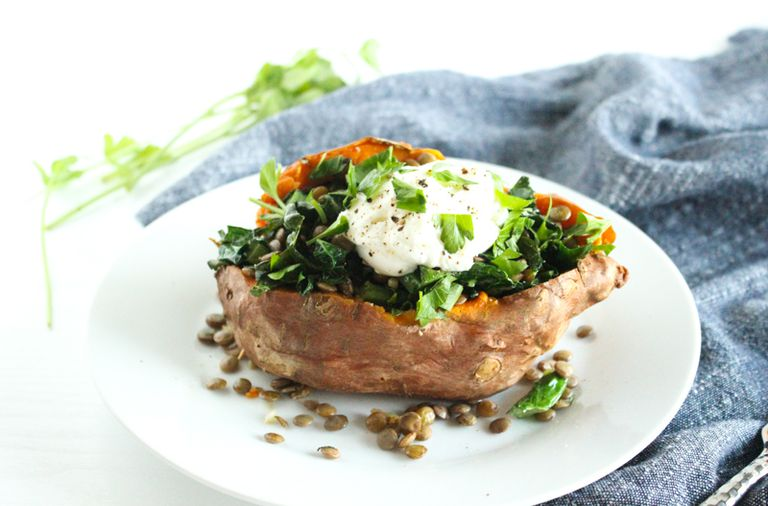 Kale and Lentil Stuffed Sweet Potato