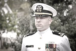 Portrait Caucasian Naval Officer in Winter Whites Uniform Outside