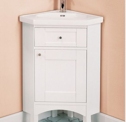 small sink with vanity. Shaker style white corner vanity by Fairmont Designs 9 Scaled Down Vanities for Small Baths