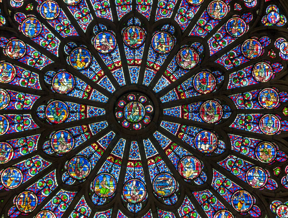 A View Of The Famed Rose Window In Notre Dame Cathedral Paris France