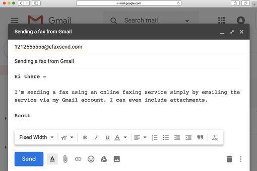 Sending a fax via Gmail