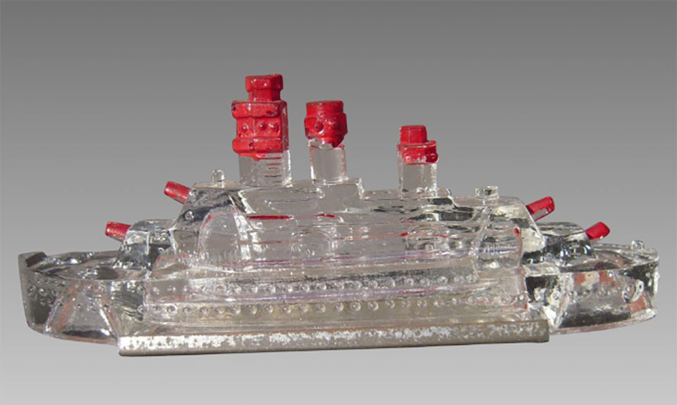 Painted Glass Battleship Candy Container, c. early 1900s