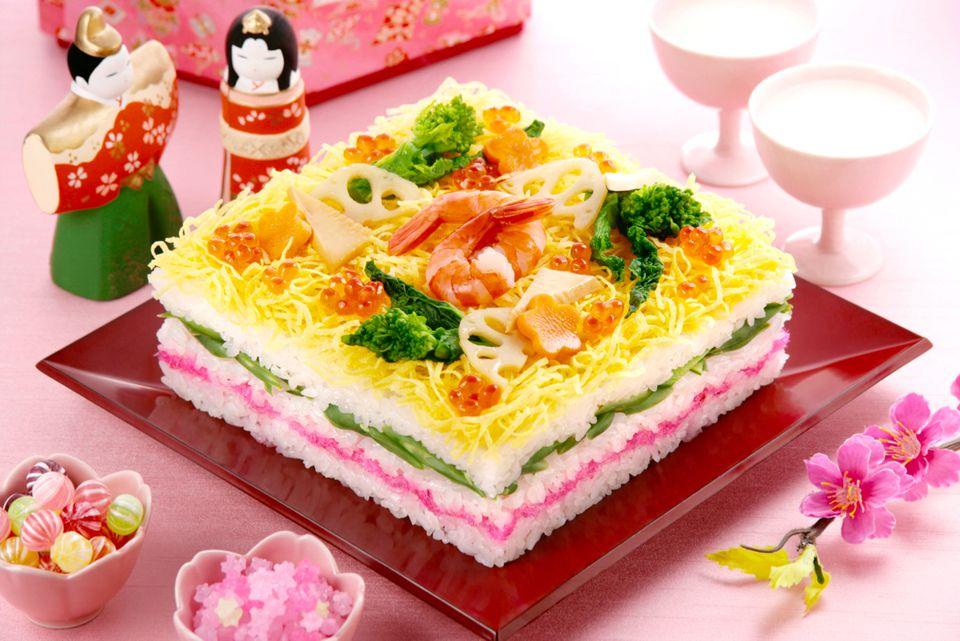 Japanese Layered Cake Recipe: Layered Sushi For Hinamatsuri Girl's Day Doll Festival