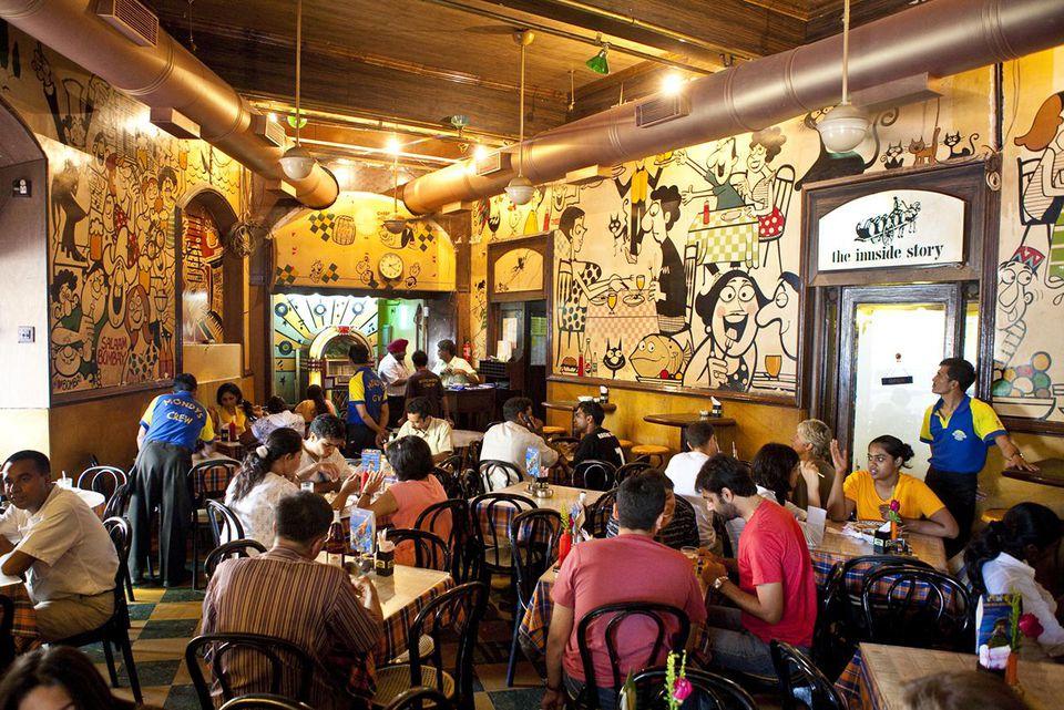 Inside Cafe Mondegar, Mumbai.