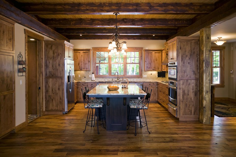 Country or rustic kitchen design ideas for Wood floor and ceiling