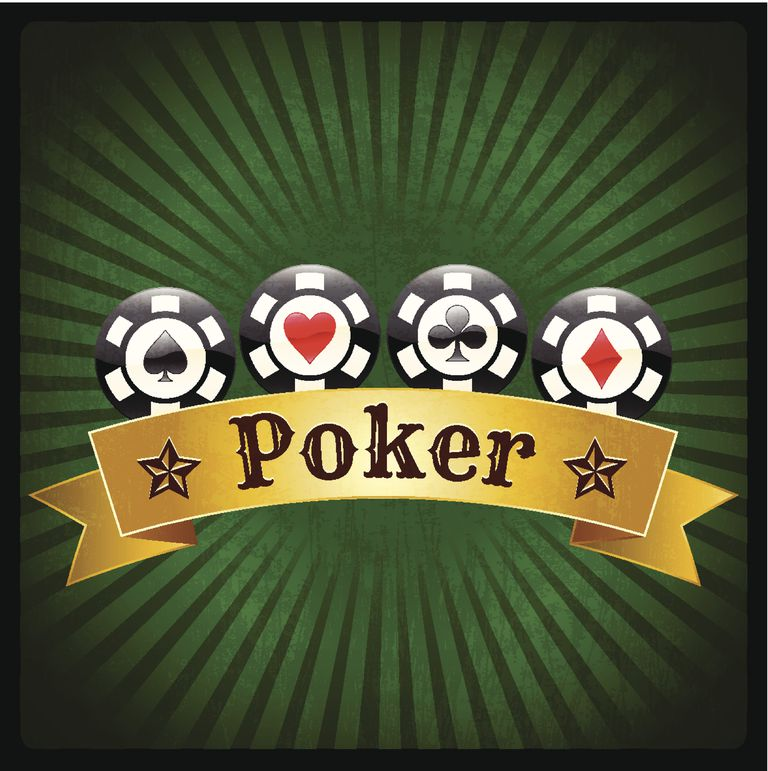 Poker Chips Banner on Green royalty free vector Background