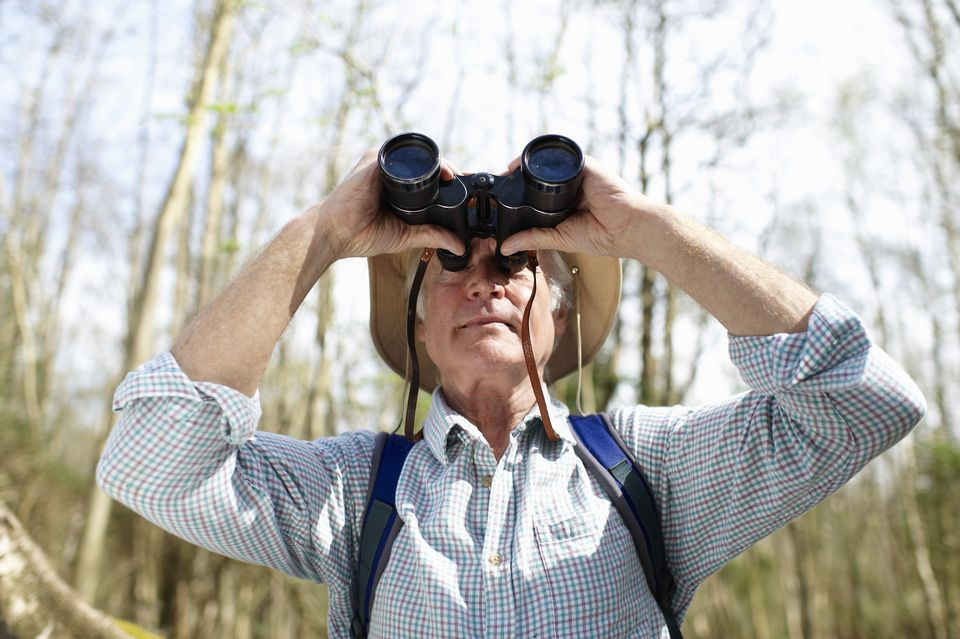 Man looking through binoculars in forest.
