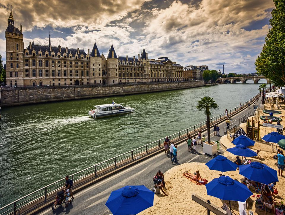 People enjoying the sun at Paris Plages, the midsummer beach operation.