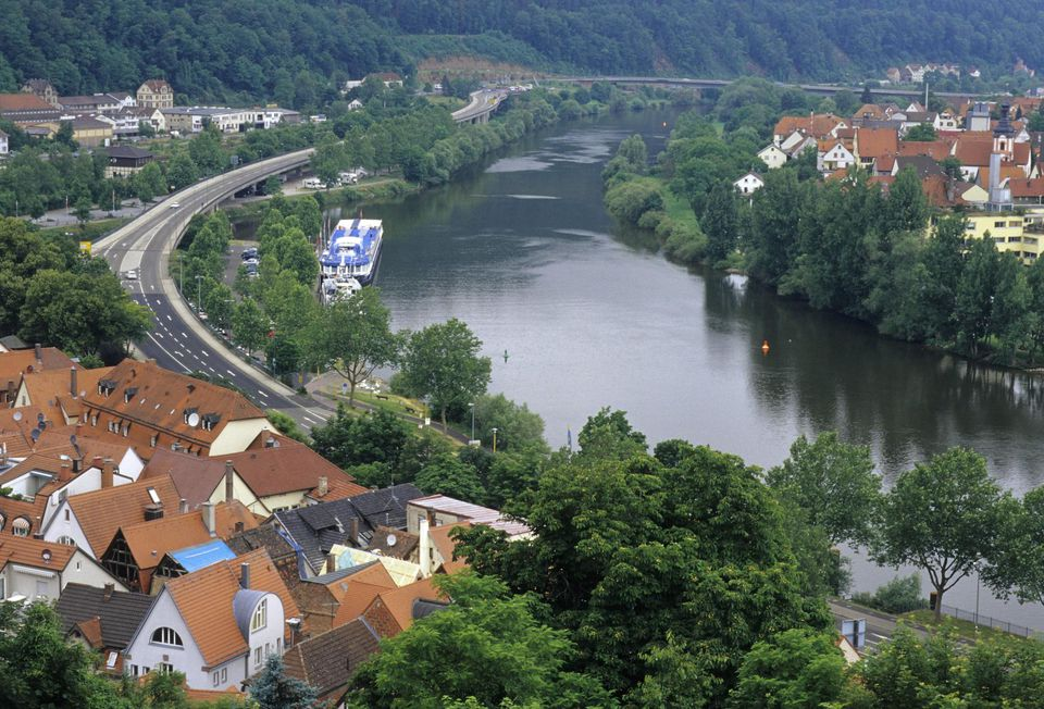 Wertheim, Germany. View of city, Main River & MS Biset (Ship) from Wertheim Castle. Charming fairy-tale town.