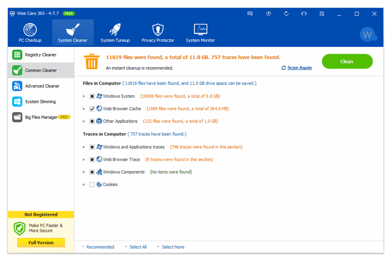 Screenshot of Wise Care 365 v4.7.7 in Windows 10