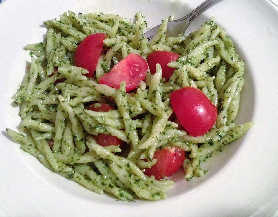 Trofie pasta with pesto and fresh tomatoes