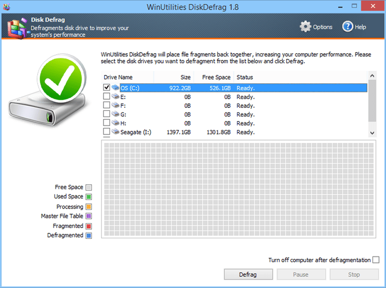 Screenshot of WinUtilities DiskDefrag v1.8 in Windows 8