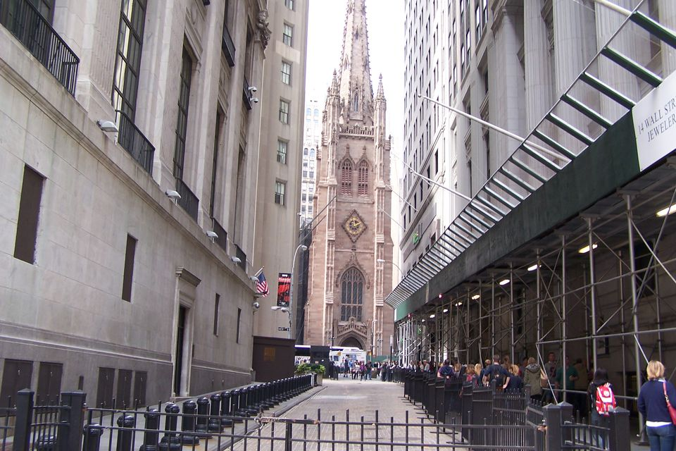 From Wall Street in NYC looking west to Trinity Church