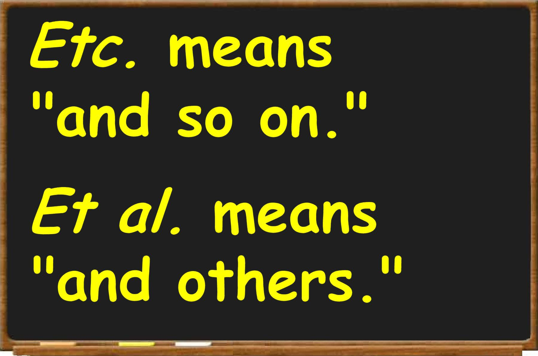Medical abbreviation for between - What S The Difference Between The Abbreviations Etc And Et Al
