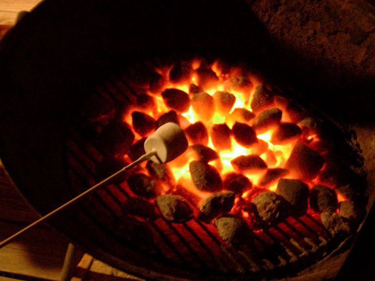 charcoal fire with marshmallow