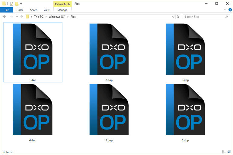 Screenshot of several DOP files used with DxO Optics Pro in Windows 10