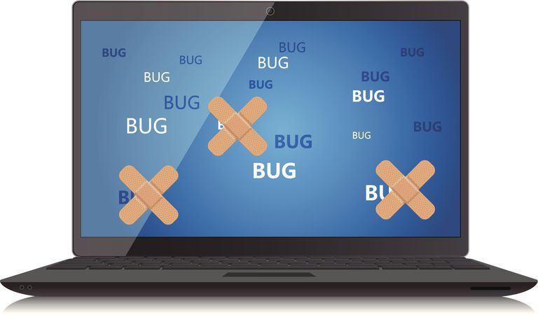 An image of a laptop with bugs, some of which have bandages on them