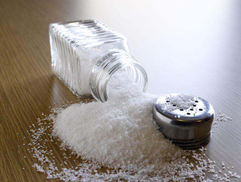 spilled salt shaker on table