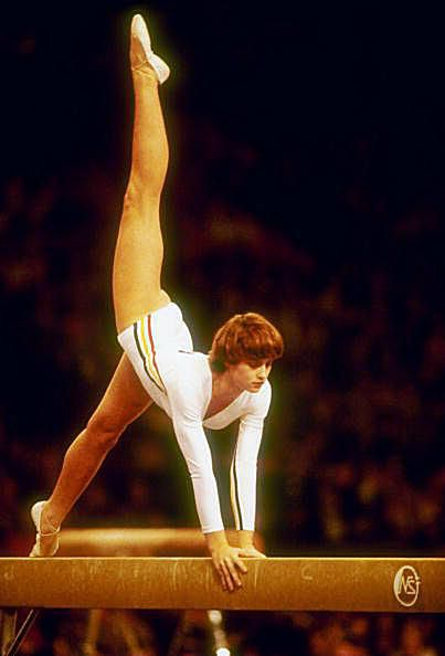 Gymnast Nadia Comaneci competes on beam at the 1978 Worlds
