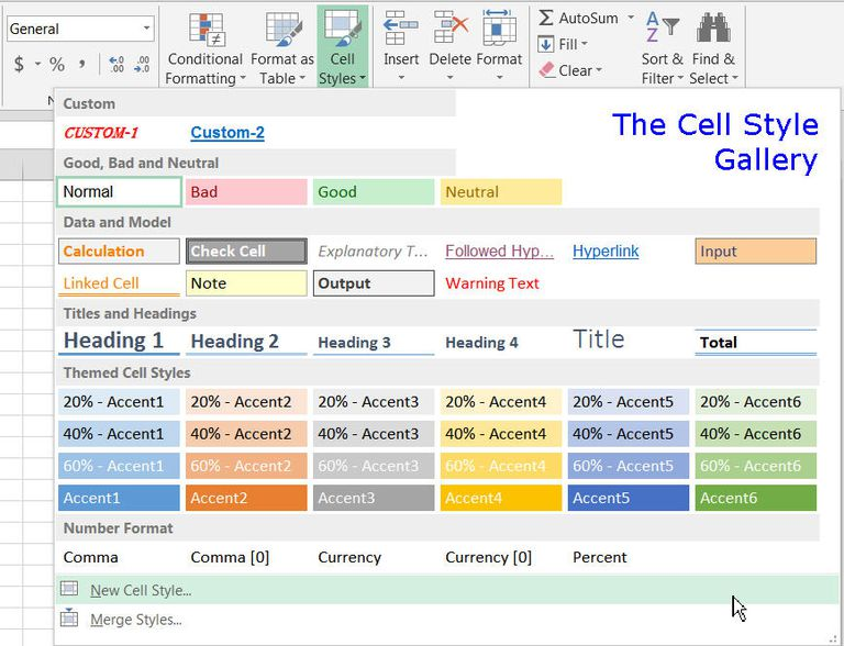 The Cell Styles Gallery in Excel