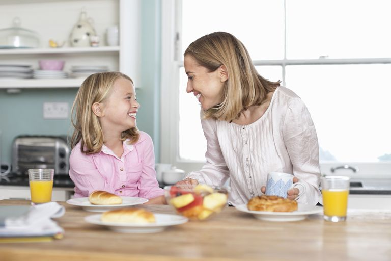 A mother and daughter have breakfast.