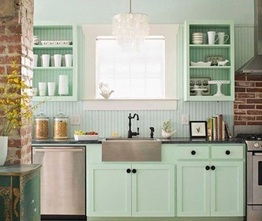 Fresh Mint Green Color Kitchen