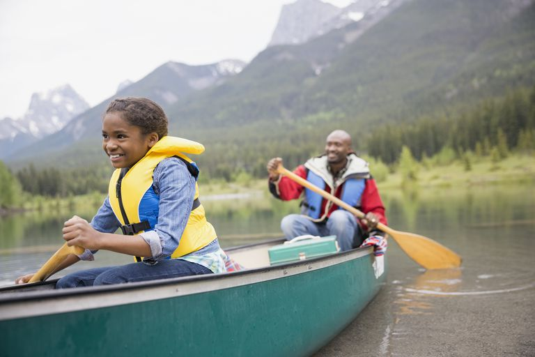 Active families - Father and daughter canoeing